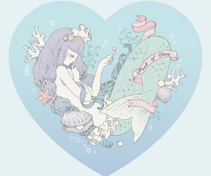 mermaid, anime, and heart image