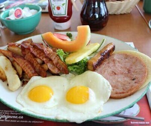 breakfast, eggs, and fruit image
