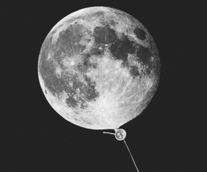 moon, art, and balloon image