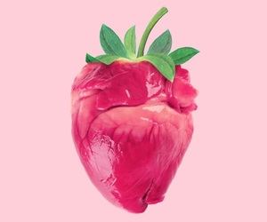 strawberry, heart, and art image