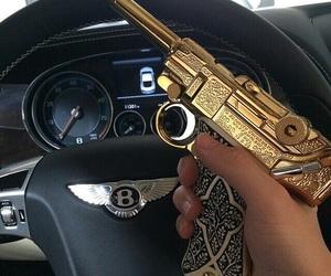 gun, gold, and luxury image