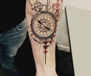 compass, tatto, and flowers image