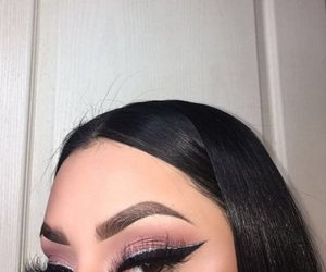 eyeliner, lashes, and pink image