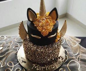 unicorn, cake, and black image