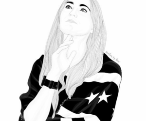 black and white, girl, and outlines image