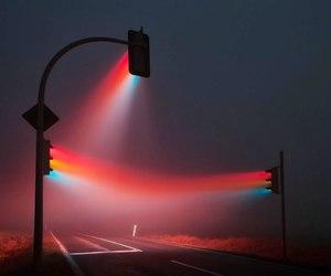rainbow, street, and traffic light image
