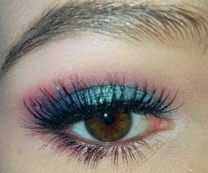 blue, glitter, and lashes image