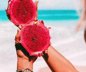 beach, fruit, and dragon fruit image
