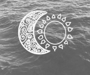 blackandwhite, moon, and sea image