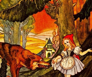 wolf and red hidding hood image