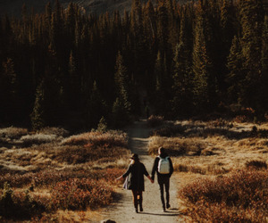 couple, landscape, and mountains image