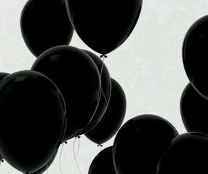 balloon, black balloons, and black image