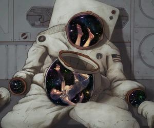 astronauta, stars, and espacio image