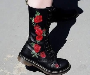 rose, boots, and shoes image