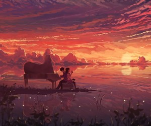 anime, piano, and sunset image