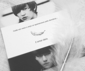 angel, black and white, and book image