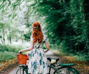 bicycle, floral dress, and redhead image