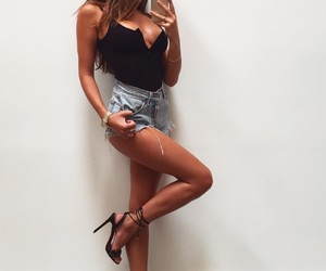 black, body, and jeans shorts image