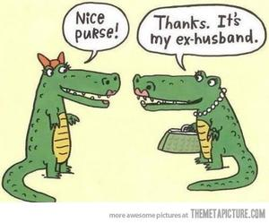 funny, purse, and crocodile image