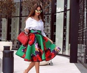 bag, heels, and skirt image