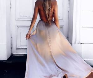 white dress, beige dress, and dress with open back image