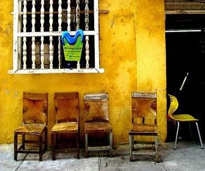 chairs, colorful, and yellow image