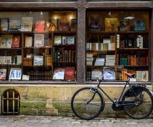 book, bicycle, and bookstore image