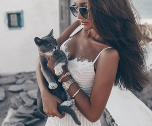 brunette and cat image
