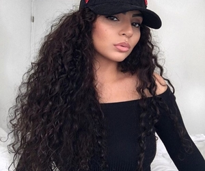 curly hair, site model, and girl girls makeup image