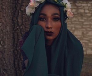 flowers, beautiful, and hijab image