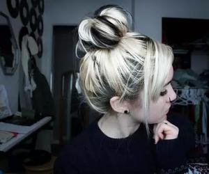 girl, blonde, and bun image