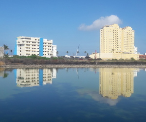 hotels, lake, and morning image