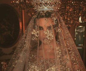 wedding, dress, and crown image
