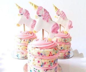 unicorn, cake, and pink image
