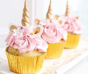 cake, cupcake, and unicorn image