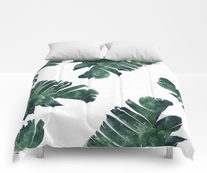 banana leaf, bedroom, and comforter image