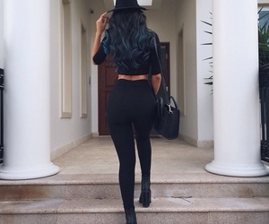 fashion, girl, and black image