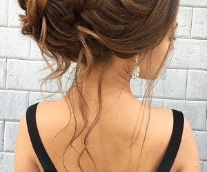 brown hair, style, and updo image