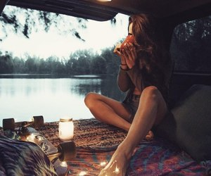 beauty, girl, and bus image