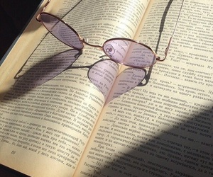 book, glasses, and purple image