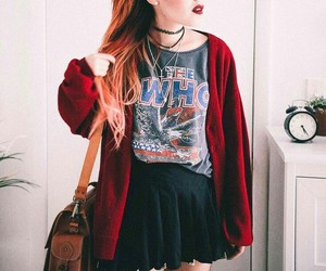 cardigan, graphic tee, and skirt image