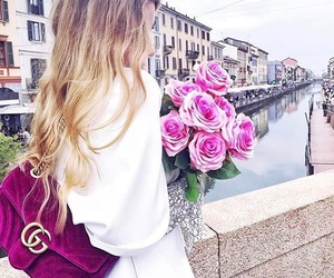 bag, romantic, and flowers image