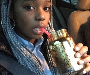 black girl, car, and cup image