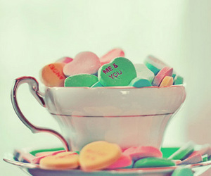 cup, hearts, and candy image