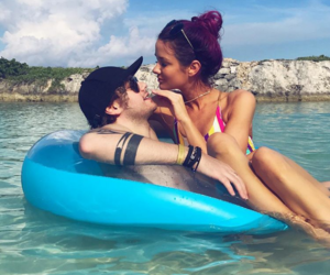 michael clifford, crystal leigh, and couple image