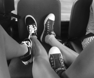 b&w, converse, and car image