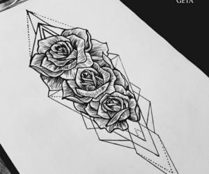 art, black, and rose image