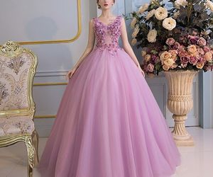 ball gown, flower, and girls image