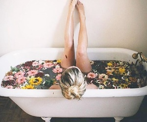 bath, flowers, and girl image