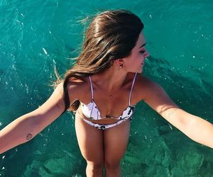 beauty, girl, and ocean image